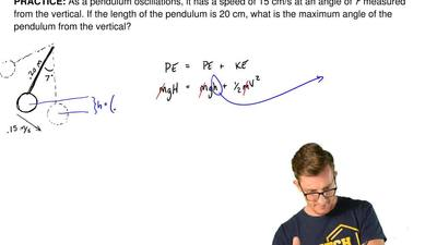 As a pendulum oscillations, it has a speed of 15 cm/s at an angle of 7o measur...