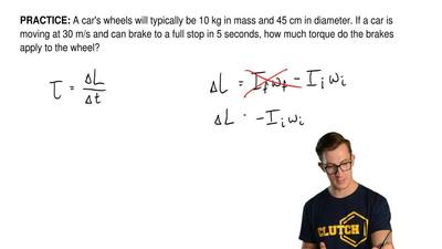 A car's wheels will typically be 10 kg in mass and 45 cm in diameter. If a car...