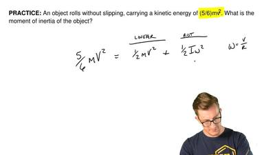 An object rolls without slipping, carrying a kinetic energy of (5/6)mv2. What ...
