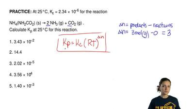 At 25°C, Kc = 2.34 × 10−6 for the reaction  NH4(NH2CO2) (s) → 2 NH3 (g) + CO2 ...