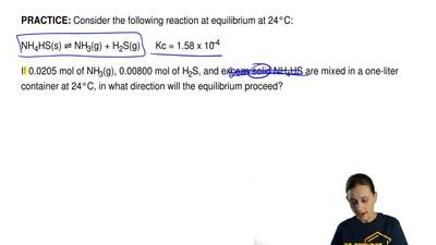 Consider the following reaction at equilibrium at 24°C:  NH4HS(s) ⇌ NH3(g)+H...