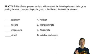 Identify the group or family to which each of the following elements belongs b...