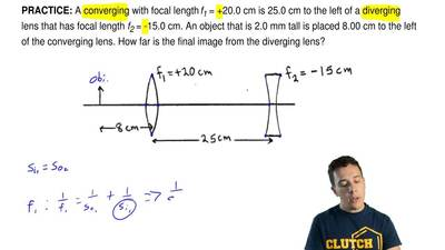 A converging with focal length f1 = +20.0 cm is 25.0 cm to the left of a diver...