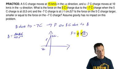 A 5 C charge moves at 15 km/s in the +x direction, and a –7 C charge moves at ...