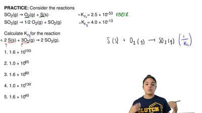 Consider the reactions SO2(g) →O2(g) + S(s)             K c = ...