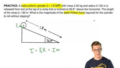 A solid uniform cylinder (I = 1/2 MR2) with mass 2.00 kg and radius 0.120 m is...