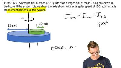 A smaller disk of mass 0.15 kg sits atop a larger disk of mass 0.5 kg as shown...