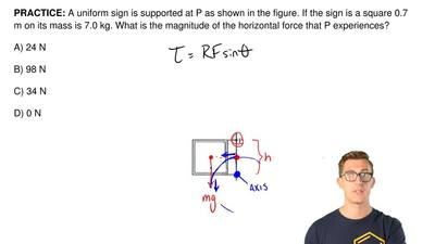 A uniform sign is supported at P as shown in the figure. If the sign is a squa...