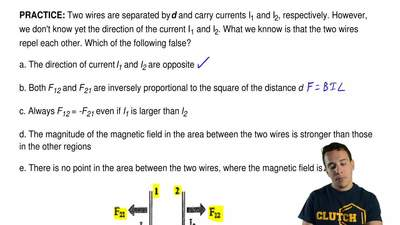 Two wires are separated by dand carry currents I1and I2, respectively. Howev...