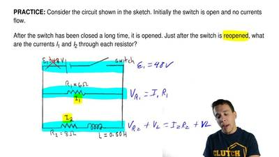 Consider the circuit shown in the sketch. Initially the switch is open and no ...