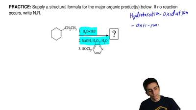 Supply a structural formula for the major organic product(s) below. If no reac...