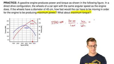 A gasoline engine produces power and torque as shown in the following figure. ...