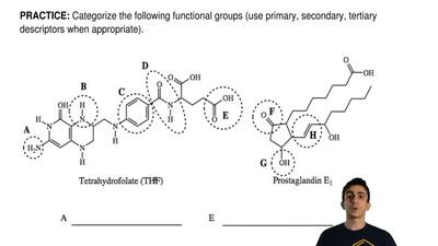Categorize the following functional groups (use primary, secondary, tertiary d...