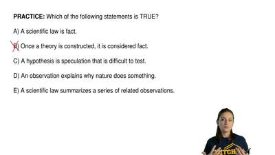 Which of the following statements is TRUE?  A) A scientific law is fact.  B) O...