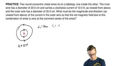 Two round concentric metal wires lie on a tabletop, one inside the other. The ...