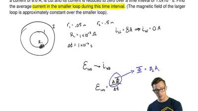 A small circular loop of wire of radius 0.05 m and reisstance 1.0x10-3Ω is c...