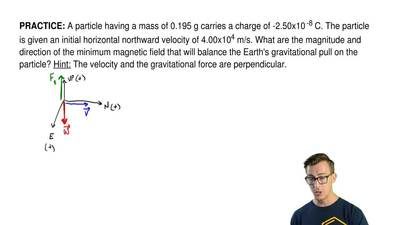 A particle having a mass of 0.195 g carries a charge of -2.50x10-8 C. The par...