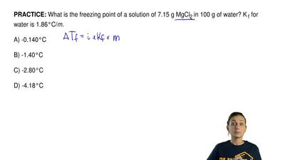What is the freezing point of a solution of 7.15 g MgCl 2 in 100 g of water? K...