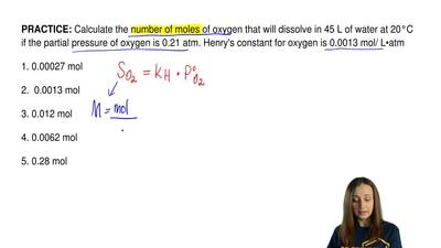 Calculate the number of moles of oxygen that will dissolve in 45 L of water at...