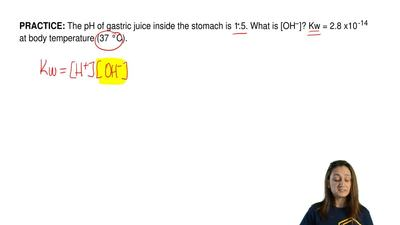 The pH of gastric juice inside the stomach is 1.5. What is [OH −]? Kw = 2.8 x1...