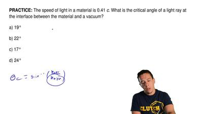 The speed of light in a material is 0.41  c. What is the critical angle of a l...