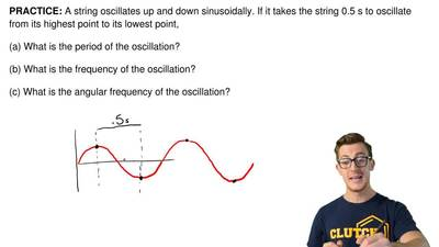 A string oscillates up and down sinusoidally. If it takes the string 0.5 s to ...