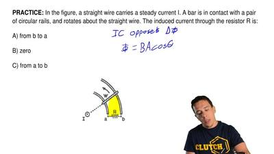 In the figure, a straight wire carries a steady current I. A bar is in contact...