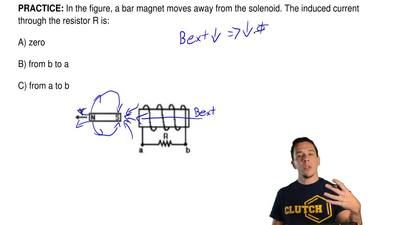 In the figure, a bar magnet moves away from the solenoid. The induced current ...
