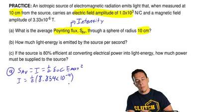 An isotropic source of electromagnetic radiation emits light that, when measur...