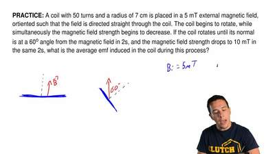 A coil with 50 turns and a radius of 7 cm is placed in a 5 mTexternal magneti...