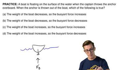 A boat is floating on the surface of the water when the captain throws the anc...