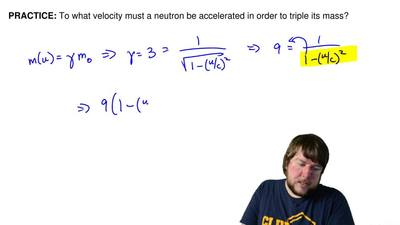 To what velocity must a neutron be accelerated in order to triple its mass? ...