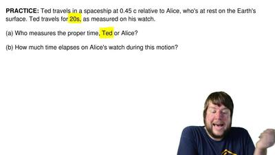 Ted travels in a spaceship at 0.45 c relative to Alice, who's at rest on the E...