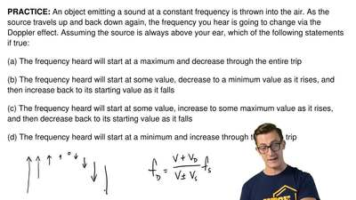 An object emitting a sound at a constant frequency is thrown into the air. As ...