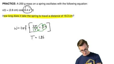 A 250 g mass on a spring oscillates with the following equation:  x(t) = (2.8 ...