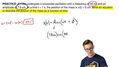 A mass undergoes a sinusoidal oscillation with a frequency of 50 Hz and an amp...