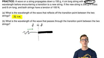 A wave on a string propagates down a 150 g, 4 cm long string with a 10 cm wave...