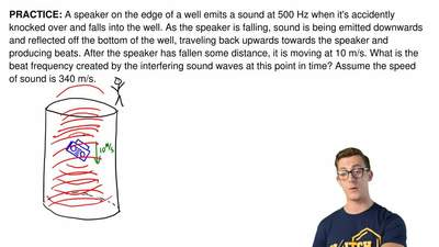 A speaker on the edge of a well emits a sound at 500 Hz when it's accidently k...