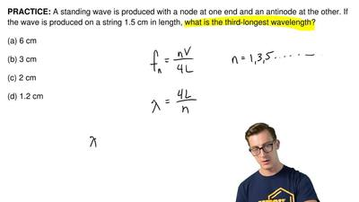 A standing wave is produced with a node at one end and an antinode at the othe...