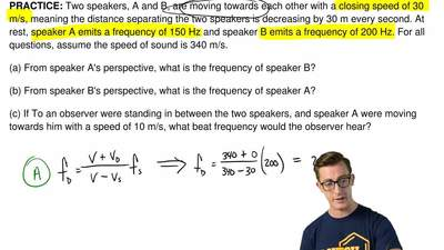 Two speakers, A and B, are moving towards each other with a closing speed of 3...