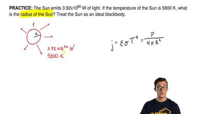 The Sun emits 3.92x1026 W of light. If the temperature of the Sun is 5800 K, w...