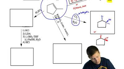 Follow the series of reactions shown below and fill in the structures of the m...