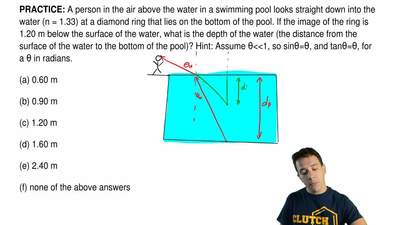 A person in the air above the water in a swimming pool looks straight down int...