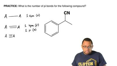 What is the number of pi bonds for the following compound? ...