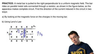 A metal bar is pulled to the right perpendicular to a uniform magnetic field. ...