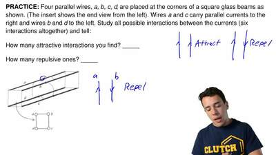 Four parallel wires, a, b, c, d, are placed at the corners of a square glass b...