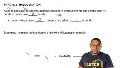 HALOGENATION  Alkenes and alkynes undergo addition reactions in which elements...