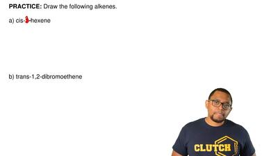 Draw the following alkenes.  a) cis-2-hexene        b) trans-1,2-dibromoet...