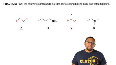 Rank the following compounds in order of increasing boiling point (lowest to h...