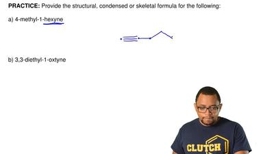 Provide the structural, condensed or skeletal formula for the following:  a) ...